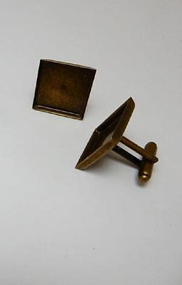 1 pair square bronze plated cuff link blanks 18 mm bezel cabochon or resin craft