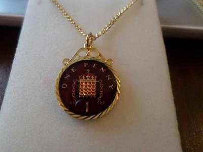 Vintage Penny Coin 1999 Enamelled Pendant & Necklace. Birthday Birthdate Jewelry