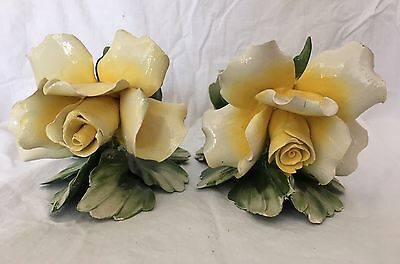 Pair of Vintage Capodimonte Floral Candle Holders Yellow Flowers Italy