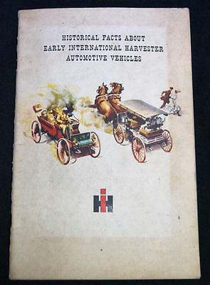 Historical Facts On Early International Harvester Automobiles Brochure Vintage