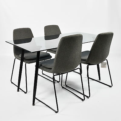Charles Jacobs Smoked Glass Lounge/Kitchen Dining Table + 4 Modern Fabric Chairs