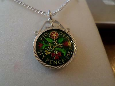 Vintage Enamelled Sixpence Coin Pendant & Necklace 1957. 60Th Birthday Gift
