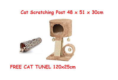 Zoofari - Cat Scratching Post 34 x 51 x 35cm + FREE CAT TUNNEL 120x25cm