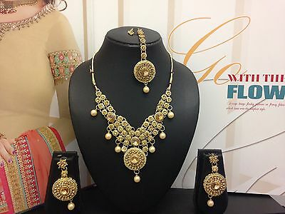 Indian Bollywood Gold Bronze Jewellery Necklace Earrings Set Xmas Party