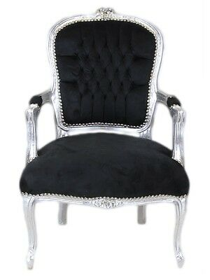 France Baroque Chair With Armrests - Silver / Black