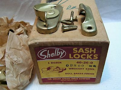 6 VINTAGE SHELBY SASH LOCKS WROUGHT STEEL DULL BRASS FINISH NEVER USED W/Box