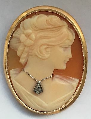 Vintage Cameo Pendant Brooch Wearing Diamond Necklace 14k Gold