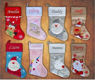 Personalised Embroidered Xmas Stocking Luxury Stocking Sack Santa Christmas 2019