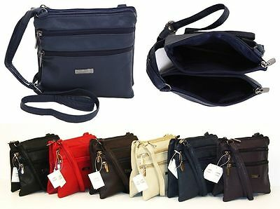 New Ladies Small Genuine Soft Leather Shoulder Cross Body Travel Purse Bag
