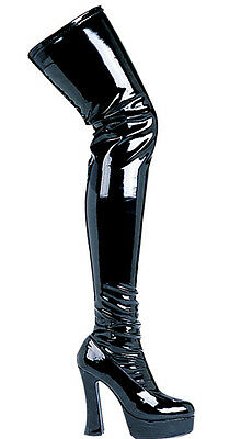 Patent Leather Womens Black Thigh High Boots