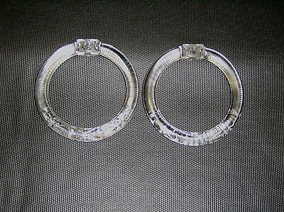 """Pair of Clear Pressed Glass 4"""" Towel Rings Curtain Tieback Bow and Pansy Pattern"""