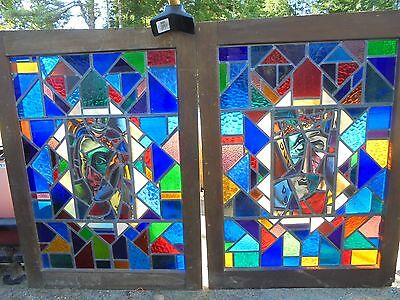 2  FIG Antique  painted  Stained Glass /free deliver in maine