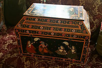 Rare Antique Mogal Rajasthani Hand Painted Indian Folk Art Wedding Dowery Chest