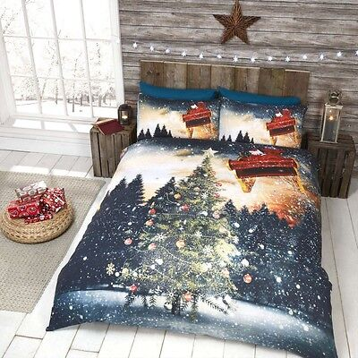 Northern Lights Christmas Tree & Santa Sleigh Quilt Duvet Cover Bedding Sets by