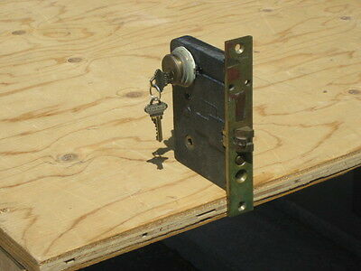 """vintage colewood cast iron mortise lock with key 4 1/2"""" x 6"""""""