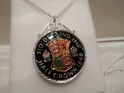 Vintage Enamelled Half Crown Coin 1948 Pendant & Necklace. Birthday Present