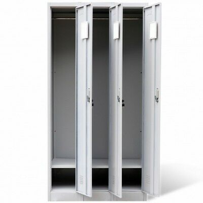 Sports Locker Cabinet Metal Gym Garage Shed Office Changing Room 3 Doors Storage