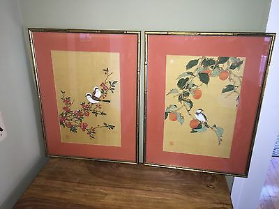 Pair Of Oriental Silk Scroll Fragments Birds Painted P. Chan Bamboo Japanese