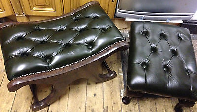 Footstools x 2 With Matching Brand New Antique Green Leather and Both Buttoned.