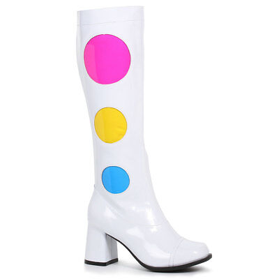 Womens White Knee High Dotty 60s Go Go Boots