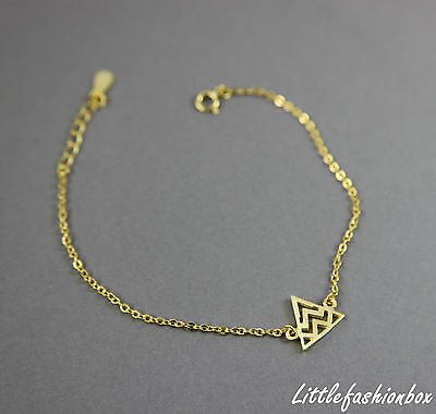 Yellow Gold Plated 925 Sterling Silver Small Triangle Fine Bracelet 1.25g