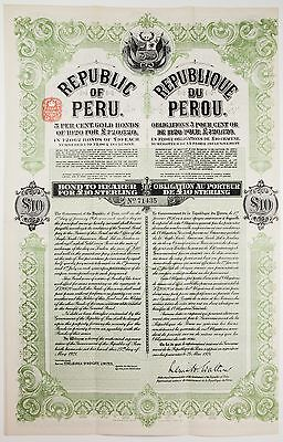 1921 Republic of Peru 5% Gold Bond, All Coupons Attached, Large Sheet #71435