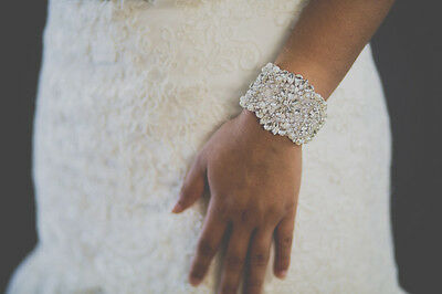 bridal bracelet, crystal beaded bridal cuff to match sash
