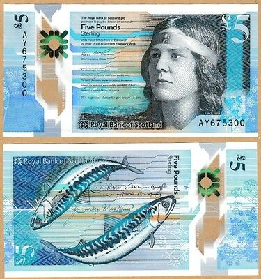 Royal Bank Of Scotland - £5 - Polymer - Unc - Issued 27 October 2016 *qwc* New