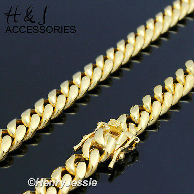 "18-40""MEN Stainless Steel 7mm Gold Tone Miami Cuban Curb Link Chain Necklace*154"