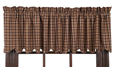 New Primitive Rustic Log Cabin Chocolate BROWN TAN PLAID VALANCE  Window Curtain
