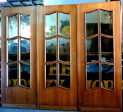 European Arch. Salvage-3 Panel Red Oak French Door With Amber Waffle Glass