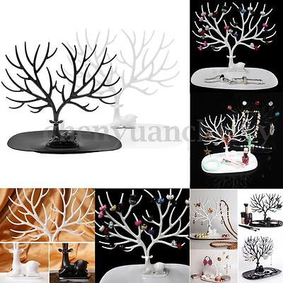 Retro Deer Tree Stand Jewelry Earrings Necklace Ring Show Rack Holder Display