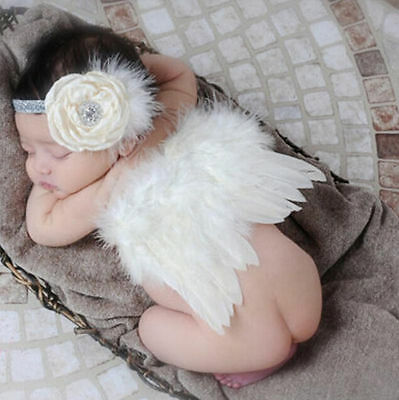 Baby Photo Photography Costume Prop Outfits White Newborn Angel Wings Girls Boys