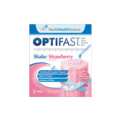 NEW Optifast VLCD Shake Pack Strawberry Flavour 12 Pack Dietary Supplements