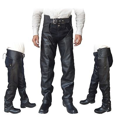 4Fit™ Unisex Genuine Leather Motorcycle Chaps for Bikers- Black