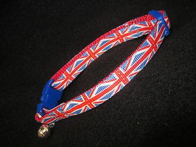 Cat Kitten collar  Webbing curved safety buckle Red White Blue Bell Union Jack