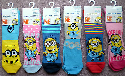 Despicable Me Minions kids ankle socks yellow blue pink happy fun Size 6-8.5