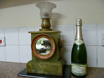An Antique French, Onyx Mantle Clock, Converted To A Candle Holder And A Mirror