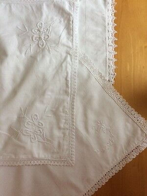 Victorian 4 X Boudoir Cushion Covers French Linen Dowry Hand Embroidery Lace