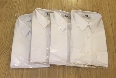 Double Two Pack Of 4 Long Sleeve White Shirts Uniform Police. Collar 16'  Jb205