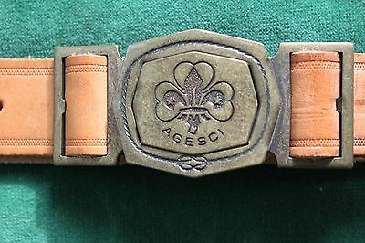 Vintage Italian AGESCI Boy Scout Brown Leather BELT & Inter Locking BUCKLE Set