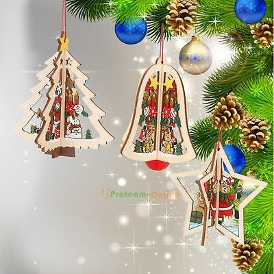 Wooden Xmas Decoration Christmas Tree Ornament Hanging Festival Home Party Decor