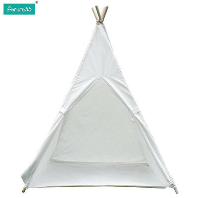 Kids Teepee Tipi Tepee Tent Playhouse Indoor/Outdoor Camping Tent w/Bottom White