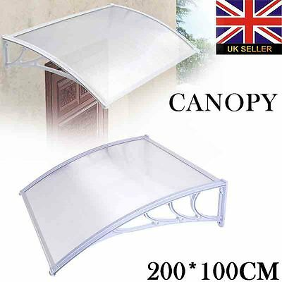 1x2M DIY Outdoor Polycarbonate Front Door Window Awning Patio Cover Canopy White