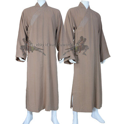 Custom 24 Colors Shaolin Buddhist Monk Robe Meditation Dress Tai Chi Wushu Suit