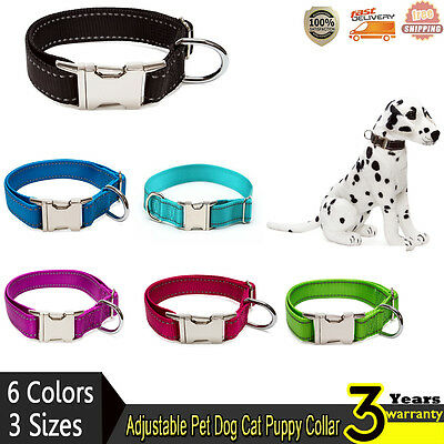 Adjustable Nylon Pet Dog Cat Puppy Collar Buckle Lead Leash Collars S M L NEW