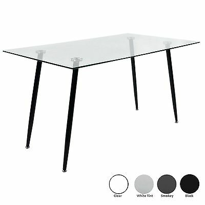 Dining / Kitchen Table with Tempered Glass Top Black Metal Legs Modern Furniture