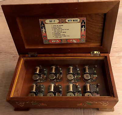 Elvis Presley-Say It With Music- Very Rare Japan Wooden Music Box Mbk 8 Tunes