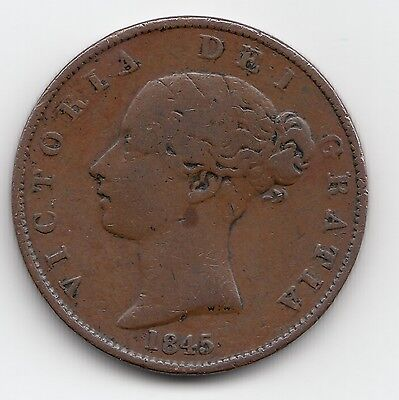 Extremely Rare 1845 Victoria Half Penny 1/2d