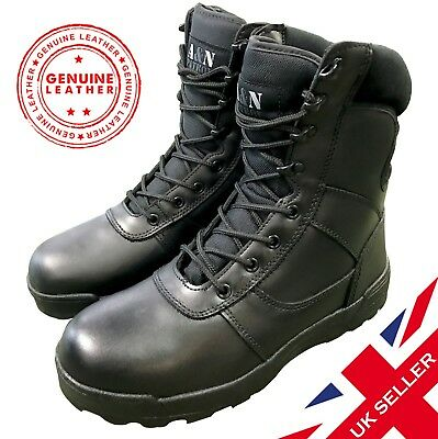Black ALL LEATHER Cadet ATC Army Patrol Combat Boots Airsoft Tactical Military